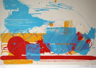 Sam Middleton.  Compositie met rode streep.