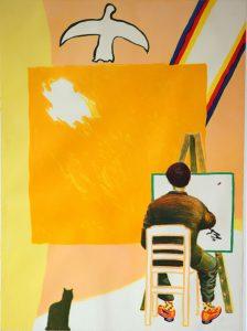 Roger Raveel. Schilder in atelier.