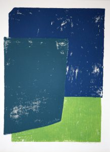 Henk van Rooy. Kleurvlakken blauwen en groen.