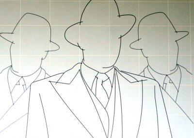 Bert Verhey. Drie mannen in pak.