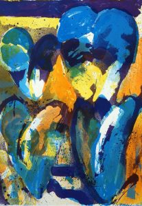 Jan Cremer - Blauw-gele tulpen